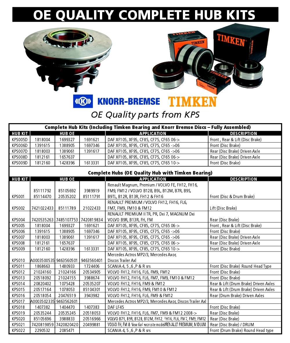 CV Wheel Hubs, Bearings & Brake Discs